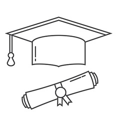 Graduation Hat and Diploma Thin Line Icon vector