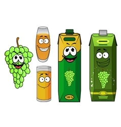 Grape juice packs fruit and glasses vector image