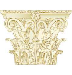 Greek corinthian capitel in soft colors classic vector