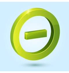 Green minus symbol isolated on blue background vector image