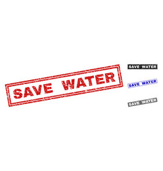 grunge save water scratched rectangle stamps vector image