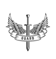 Guard emblem template with winged sword vector