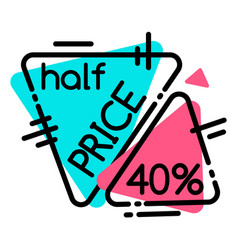 Half price on black friday sale promotion tags vector