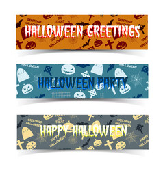 halloween horizontal banners set vector image