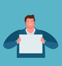 Happy businessman holding a paper sheet in his vector