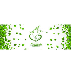 Happy ganesh chaturthi festival banner in eco vector