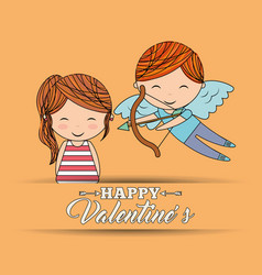 happy valentines girl and boy cupid greeting card vector image