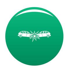 Head collision icon green vector