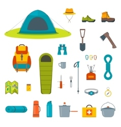 Hiking equipment and gear icon collection vector image