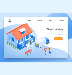Home moving service isometric website vector
