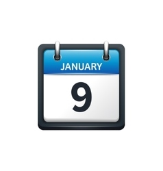 January 9 calendar icon flat vector