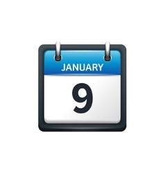 January 9 Calendar icon flat vector