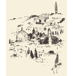 Jerusalem City View Israel Vintage Engraved vector image