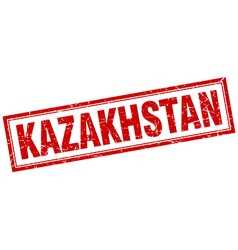 Kazakhstan red square grunge stamp on white vector