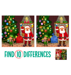 Kids christmas game find ten differences riddle vector