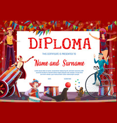 Kids diploma with shapito circus stage performers vector