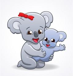 koala mother cuddling baby vector image