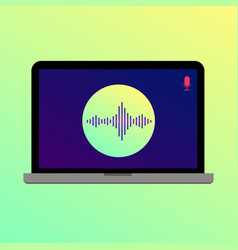 laptop with wave and microphone icon on the screen vector image