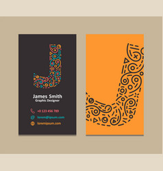 Letter j logo business card vector