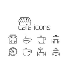 line cafe icons set on white background vector image