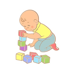 Little lovely baboy playing with toys vector