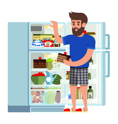 man stands fridge chooses food modern flat vector image