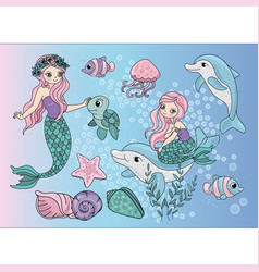 Mermaids sea travel clipart color vector