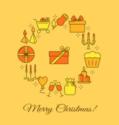 merry christmas round concept banner in line style vector image