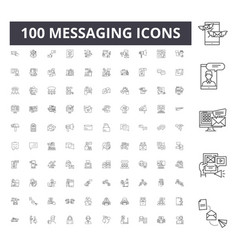 messaging line icons signs set outline vector image