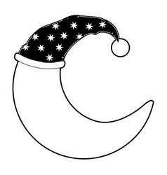 Moon half caricature with sleeping cap black color vector