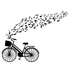 Music notes bicycle background vector