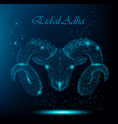 Muslim holiday eid al-adha polygonal ram vector