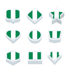 Nigeria flags icons and button set nine styles vector