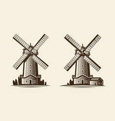 Old wooden mill windmill logo or label vector