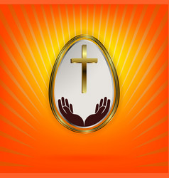 Orange design with white easter egg with gold vector