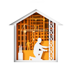 paper cut craft style house with construction vector image