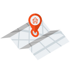 paper map with red gps pin location icon vector image