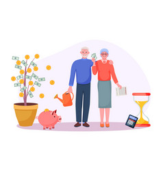 Pension savings money investment in retirement vector