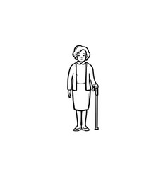 Pensioner woman with cane hand drawn outline vector