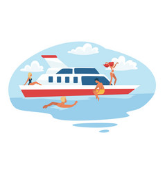 people spending summer holidays on yacht swimming vector image