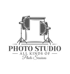 photo studio label isolated on white background vector image