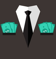 Professional suit with cash in pocket vector image
