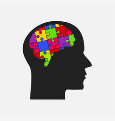 puzzle pieces silhouette brain head puzzle brain vector image