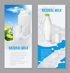 Realistic dairy products banners vector