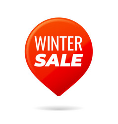 Red pin on white background winter sale vector