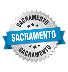 Sacramento round silver badge with blue ribbon vector
