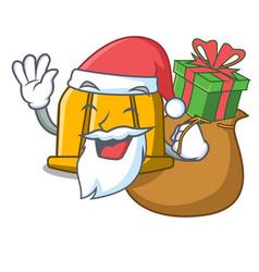 santa with gift construction helmet mascot cartoon vector image