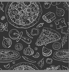 seamless italian pizza pattern on black vector image