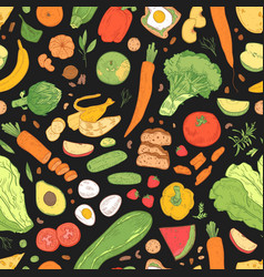 seamless pattern with dietary food wholesome vector image