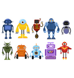 set cartoon robots collection cute retro vector image